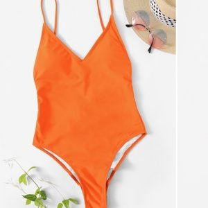 Neon lace-up swimsuit